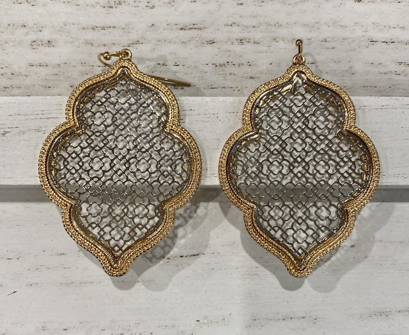 Two Toned Filigree Earrings