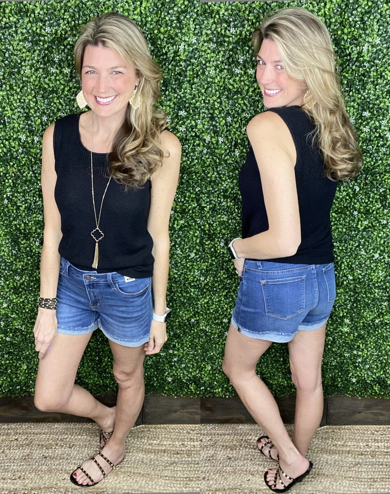 Judy Blue Cuffed Hem Washed Shorts