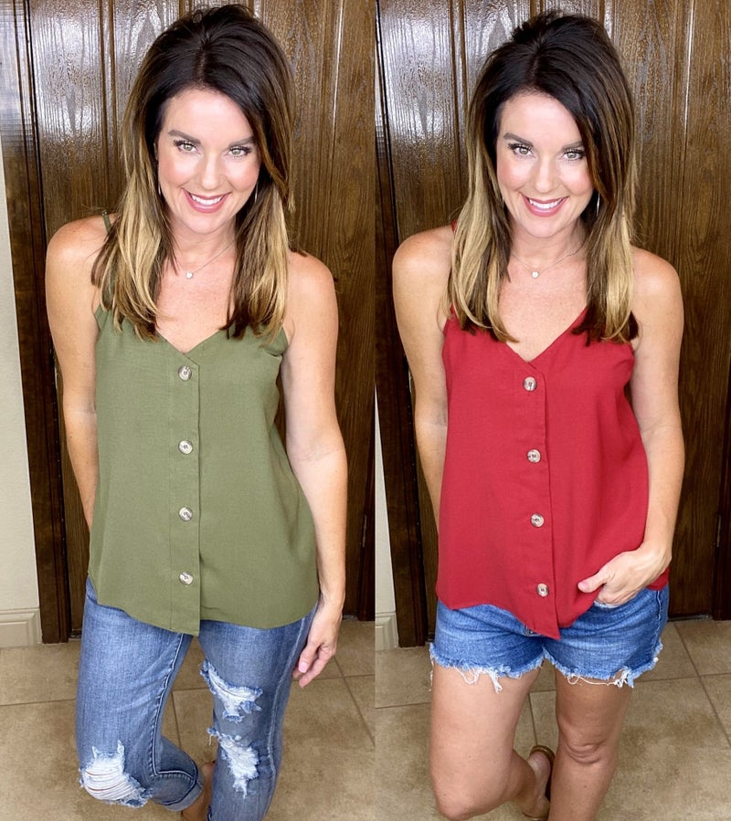 Double Strapped Button Down Tanks - LTMD STOCK!