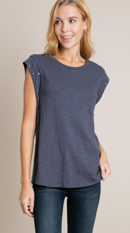 Rue Metal Stud Accented Top