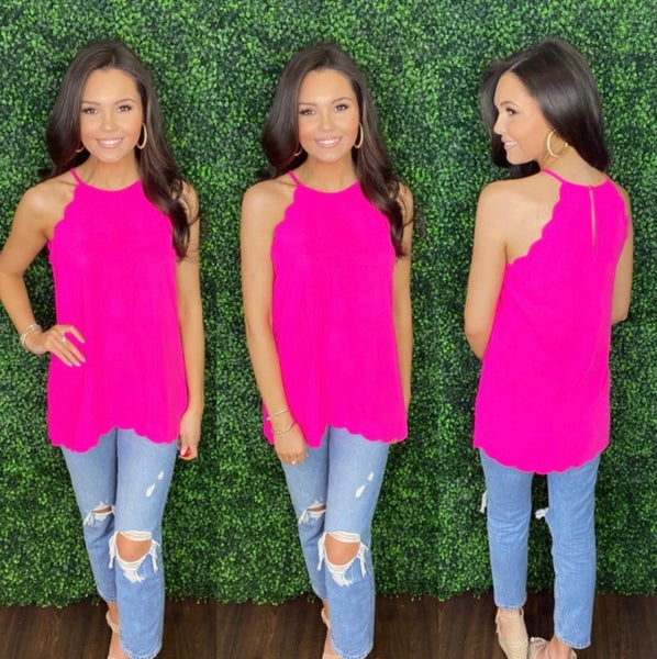 Summer Scalloped Halter Tank: 4 COLORS!