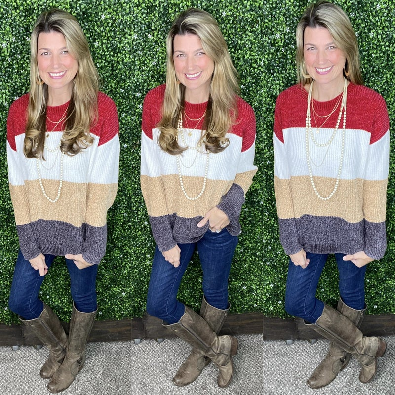 Warm Wishes Chenille Color Block Sweater