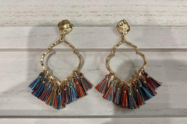Jacquard Filigree Fringe Drop Pendant Earrings