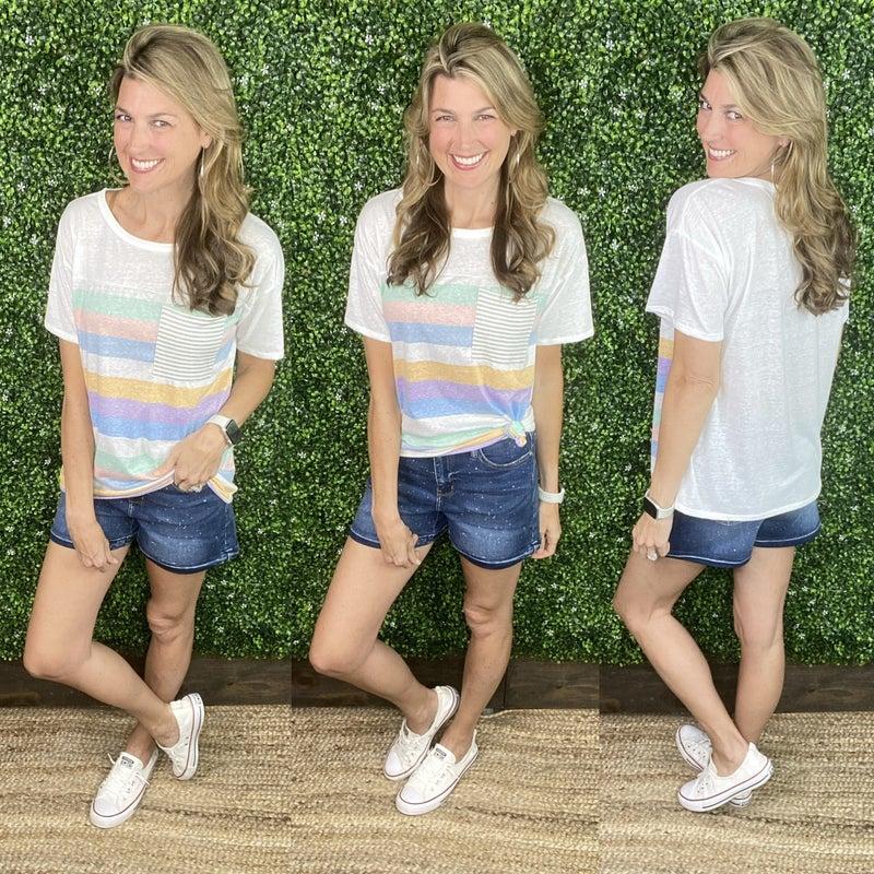 Judy Blue Galaxy Splashed Denim Shorts