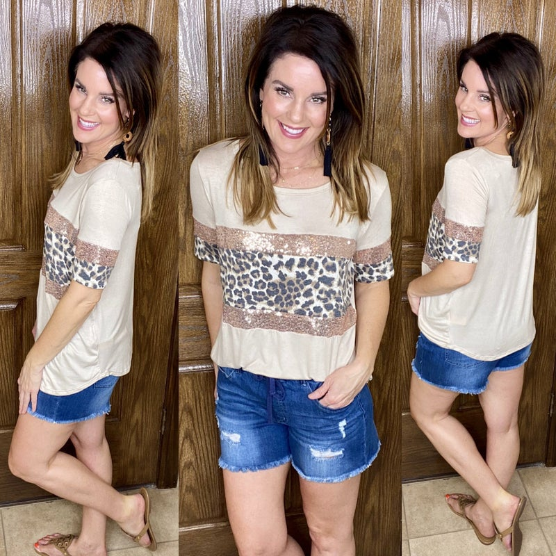 Loving Life Leopard and Sequin Tee