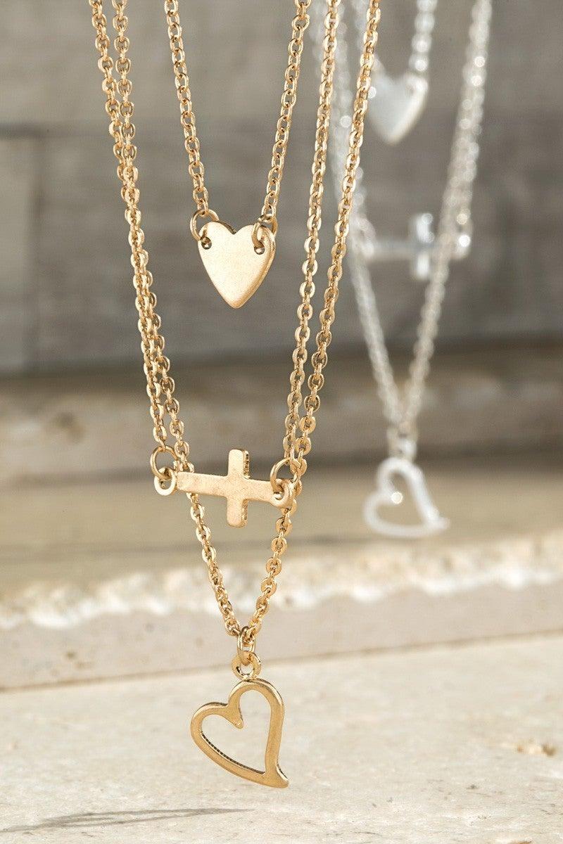 Faith Hope & Love Layered Charm Necklace