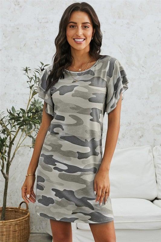Flutter Sleeve Camo Dress