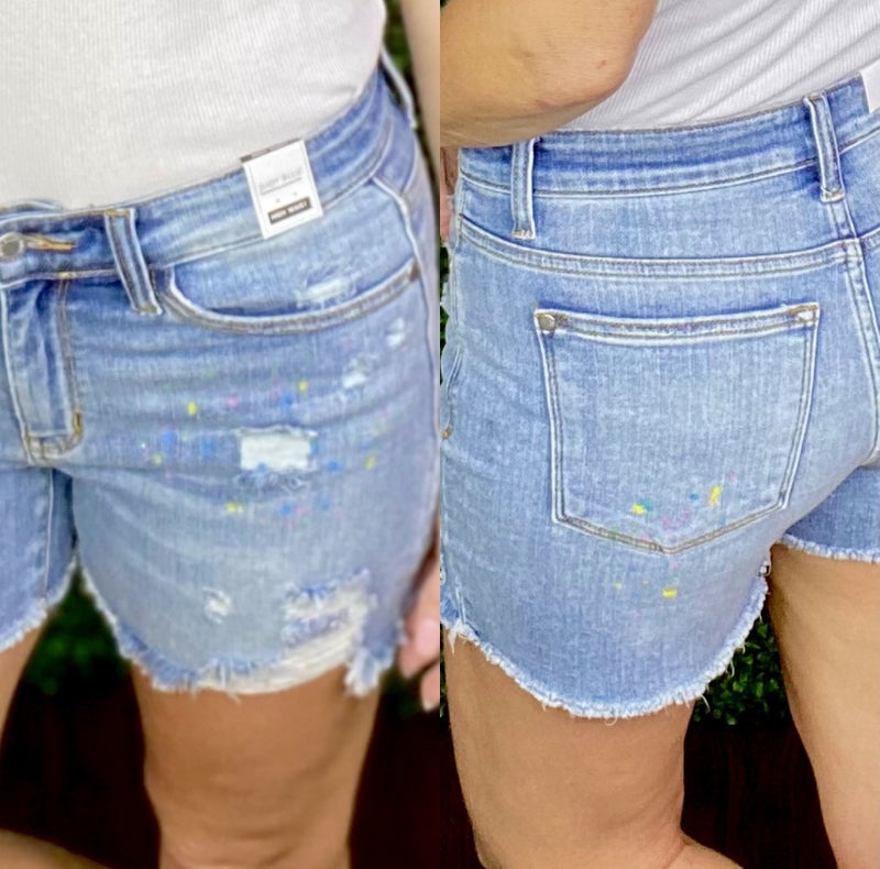 Judy Blue Splatter Painted Distressed Shorts - LIMITED!