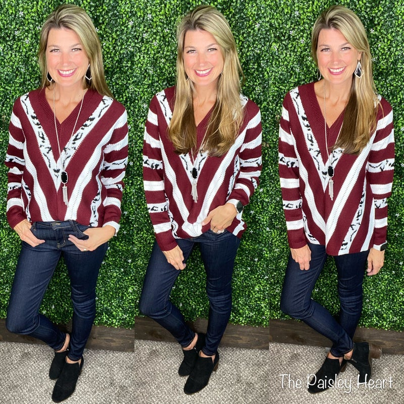 Ingrid Chevron and Leopard Sweater - Limited Stock!!