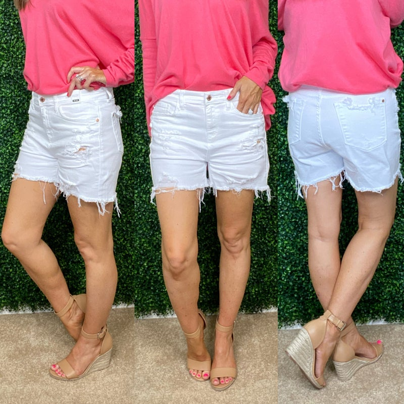 White Distressed Judy Blue Shorts: LIMITED!