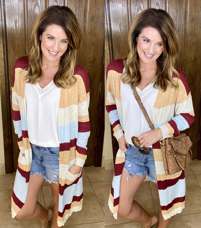 Easy Stripes Open Front Teacher Cardigan