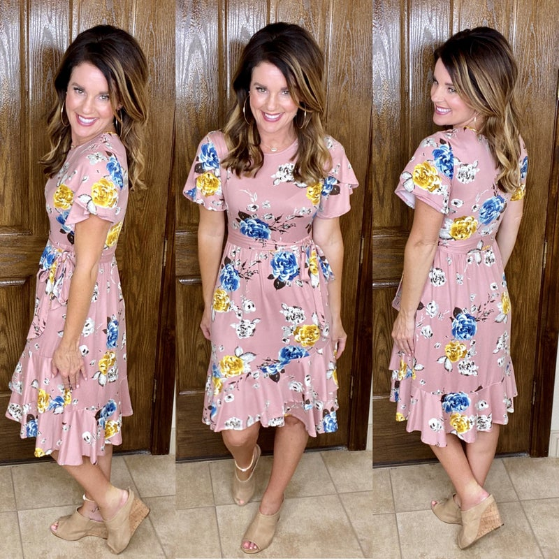 Tulip Ruffle Wrap Midi Dress