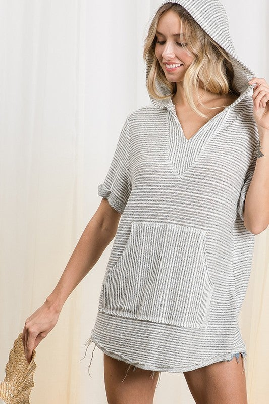 Striped Knit SS Kangaroo Pocket Hoodie