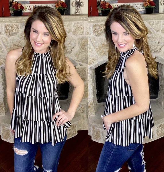 Striped Perfection Tiered Top