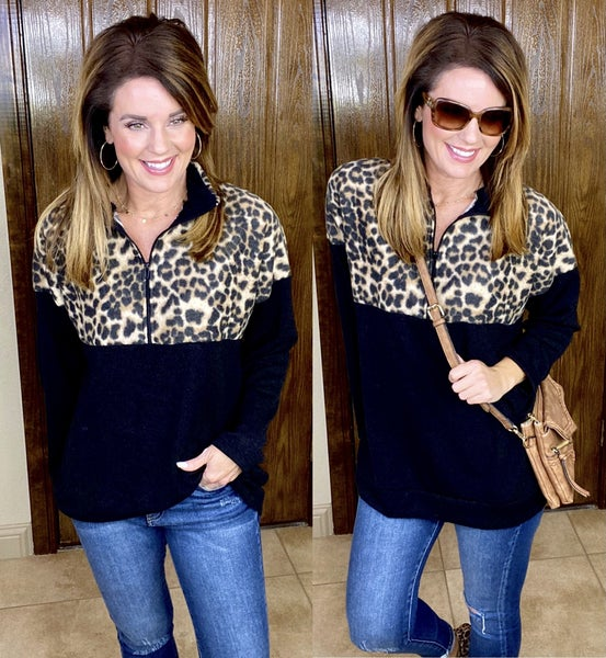 Fleece Soft Leopard Half Zip Pullover