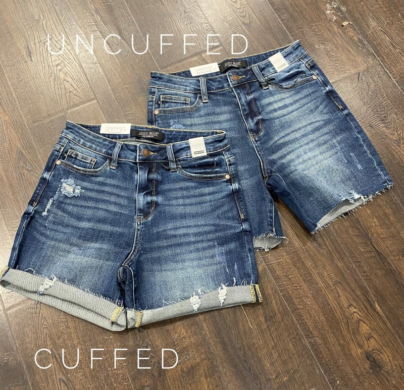 Judy Blue Mid Thigh Lightly Distressed Shorts