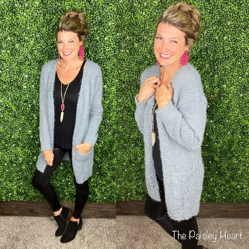 Cozy So Soft Popcorn Open Front Pocket Cardigan