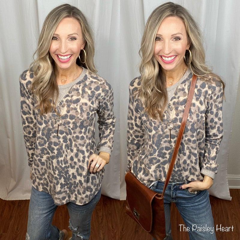 Fleece Soft Leopard Lightweight Pullover