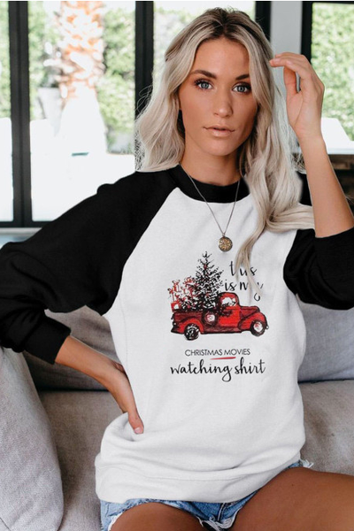 This is my Christmas Watching Shirt Raglan Pullover