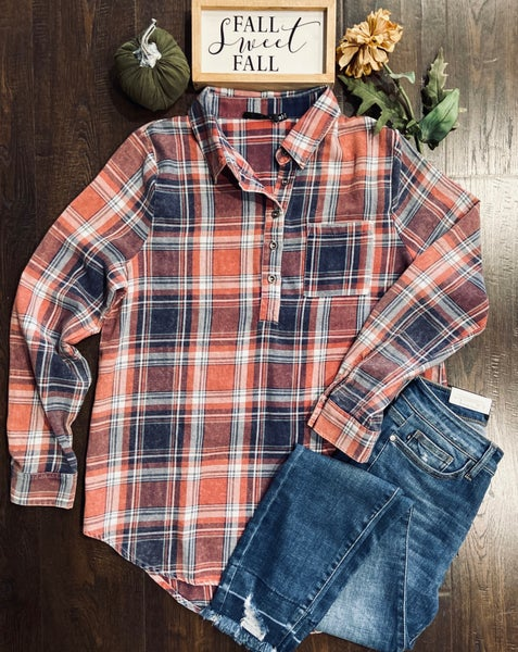 Vintage Plaid Button Detailed Tunic - LIMITED//NO RESTOCK!