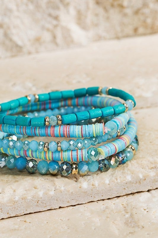 Heishi Disc Bead Bracelet Set