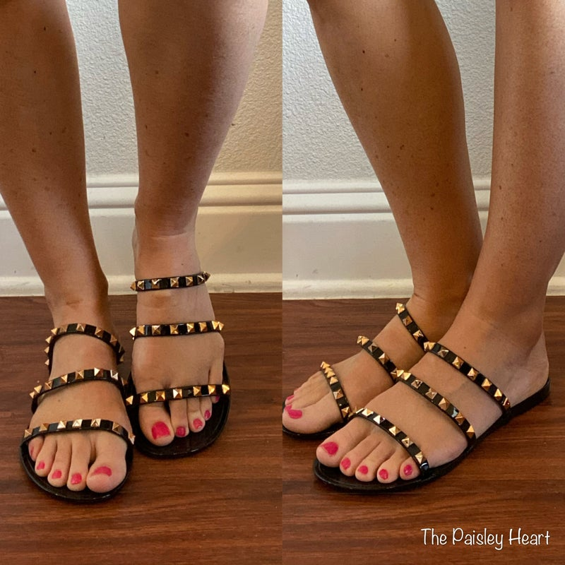 Studded Jelly Flat Strappy Sandals
