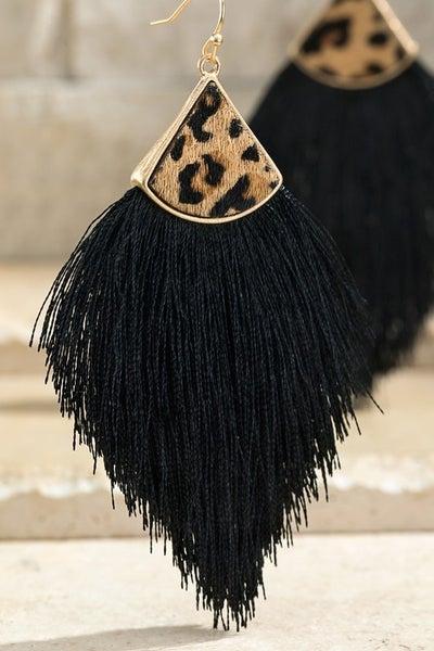 Fine Thread Cheetah Tassel Earrings