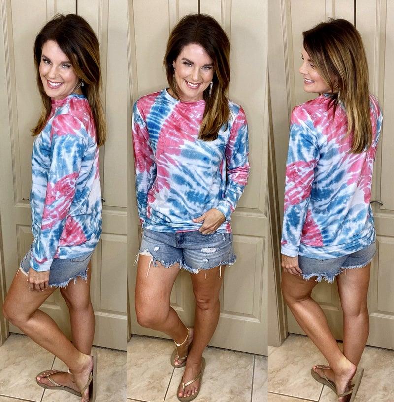 Rose Blue Tie Dye Print Pullover