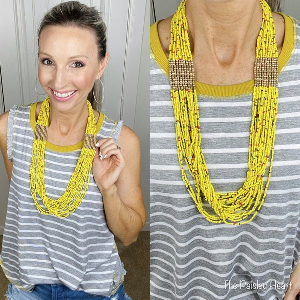 Mustard Multi Strand Seed Bead Necklace - LMTD STOCK!!