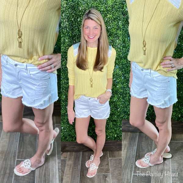 Judy Blue Distressed White Shorts