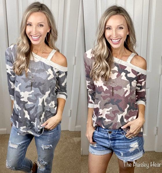 Trendy Open Shoulder Camo Print  Top