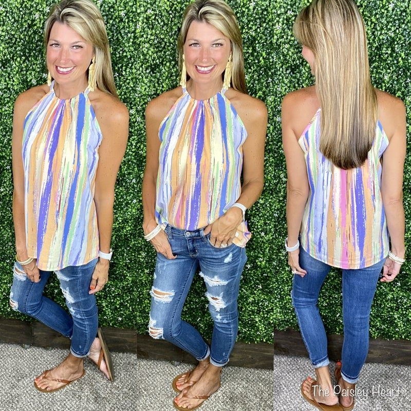 Watercolor Stripes Halter Neck Top