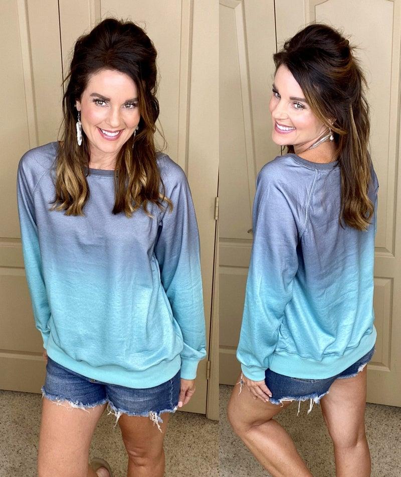Ombre Crewneck Long Sleeve Sweatshirt