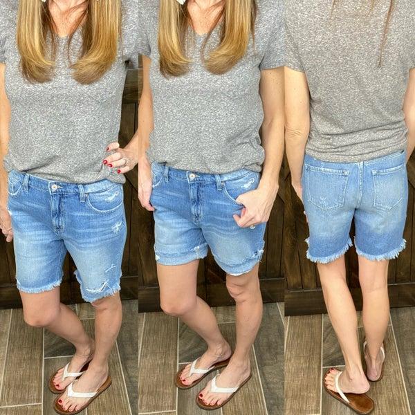 KanCan Lightwash Shorts- Boyfriend Fit