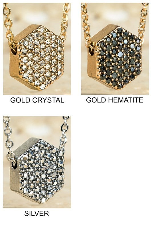 Designer Inspired Hexagon Pave Crystal Necklace
