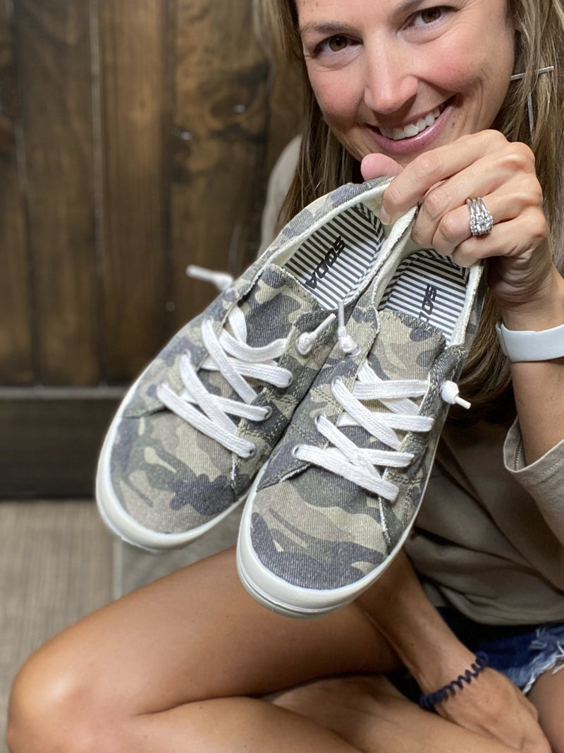 Camo Lace Up Comfy Sneakers