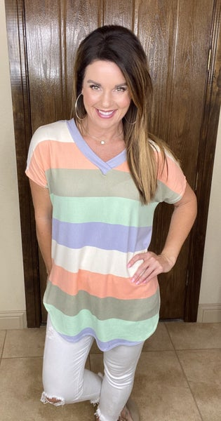Softer Stripes V-Neck