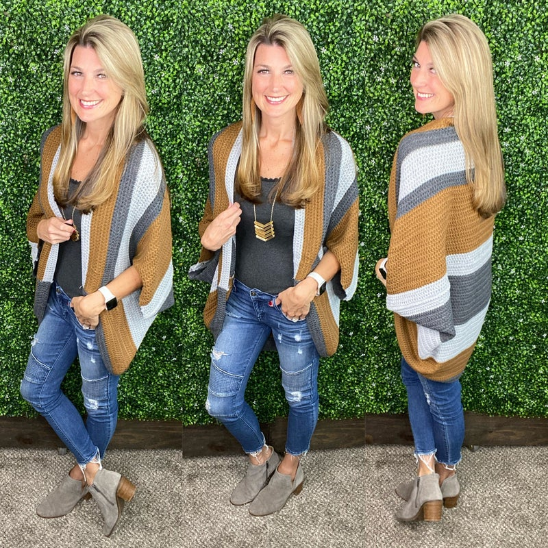 On Fall Time Open Front Cardigan