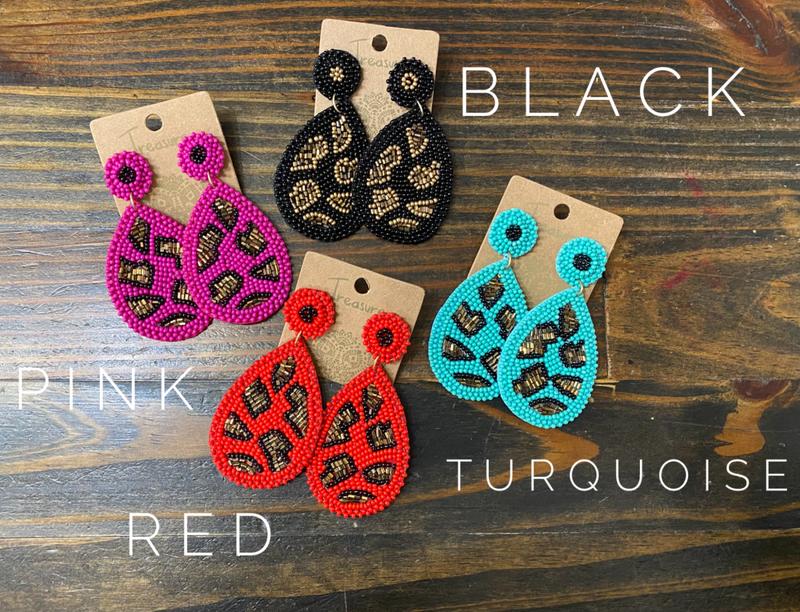 Any Day Fabulous Beaded Leopard Earrings