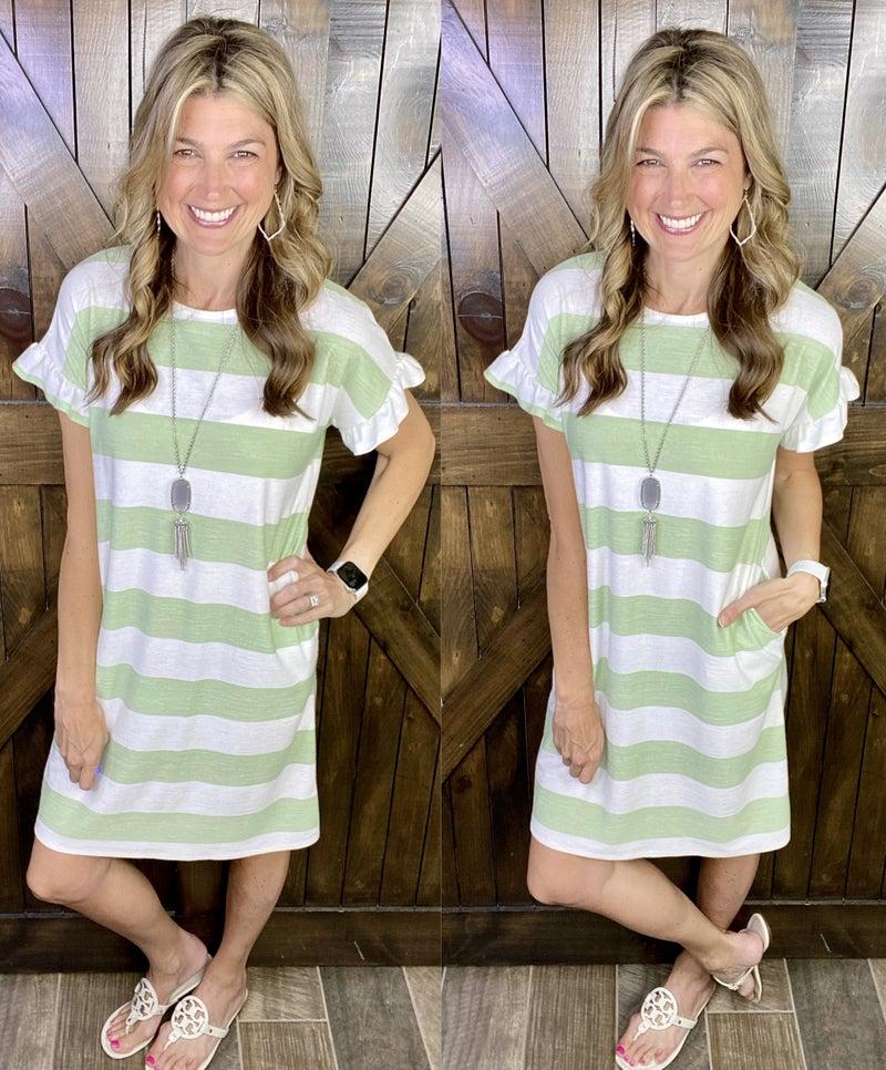 Madeline Striped Dress - Ruffled Short Sleeves