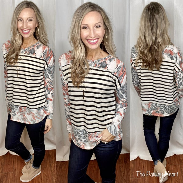 Kylee Striped Abstract Top