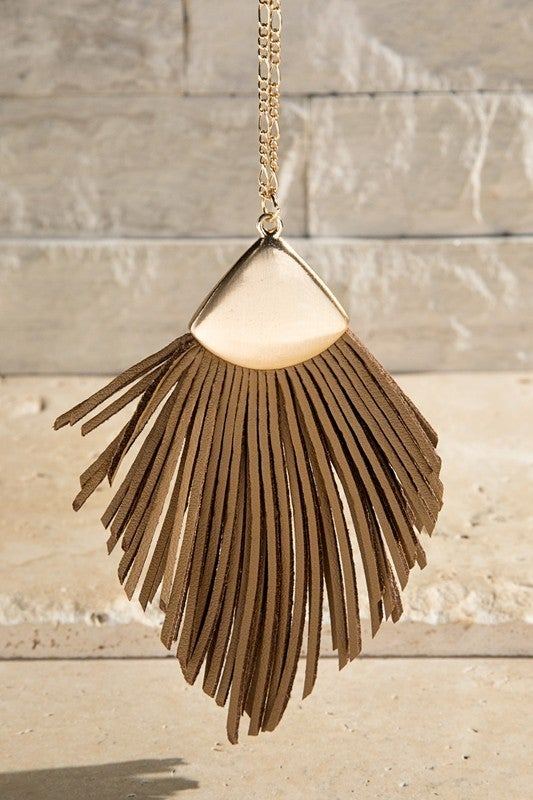 Faux Leather Tassel Necklace