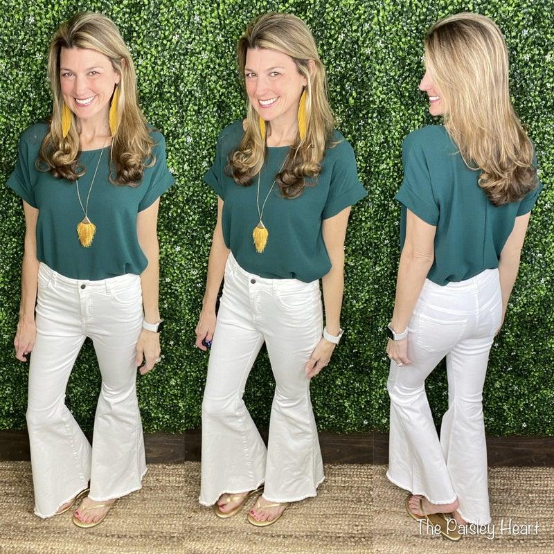 Brandi White Bell Bottom Jeans