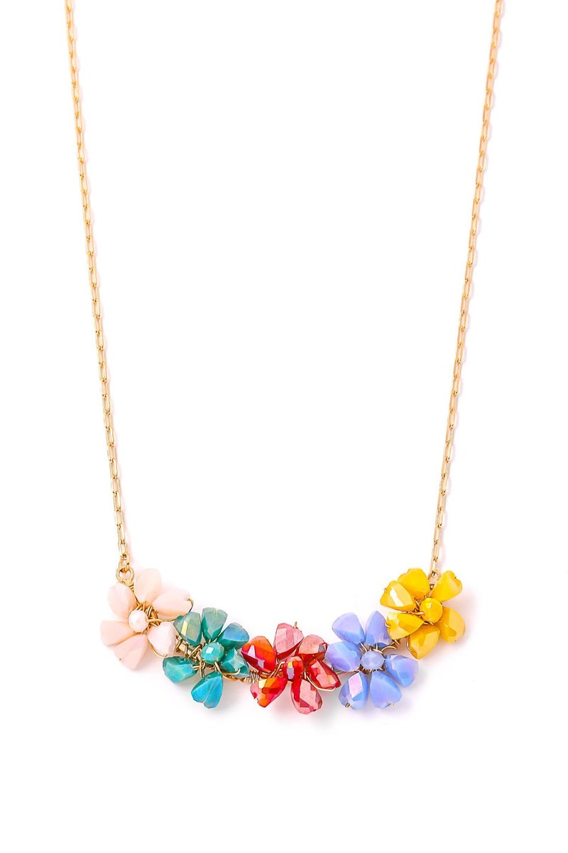 Glass Flower Bead Necklace