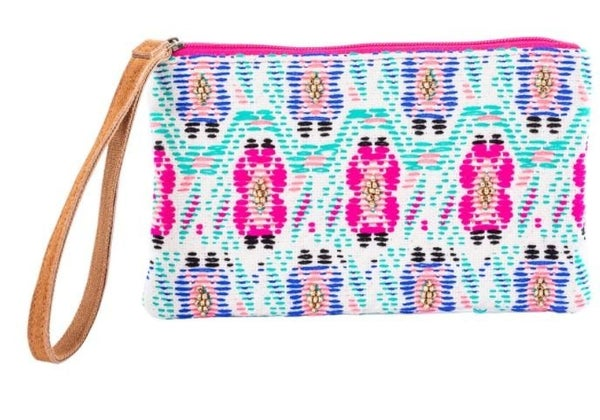 Vibrant Wristlet with Leather Strap
