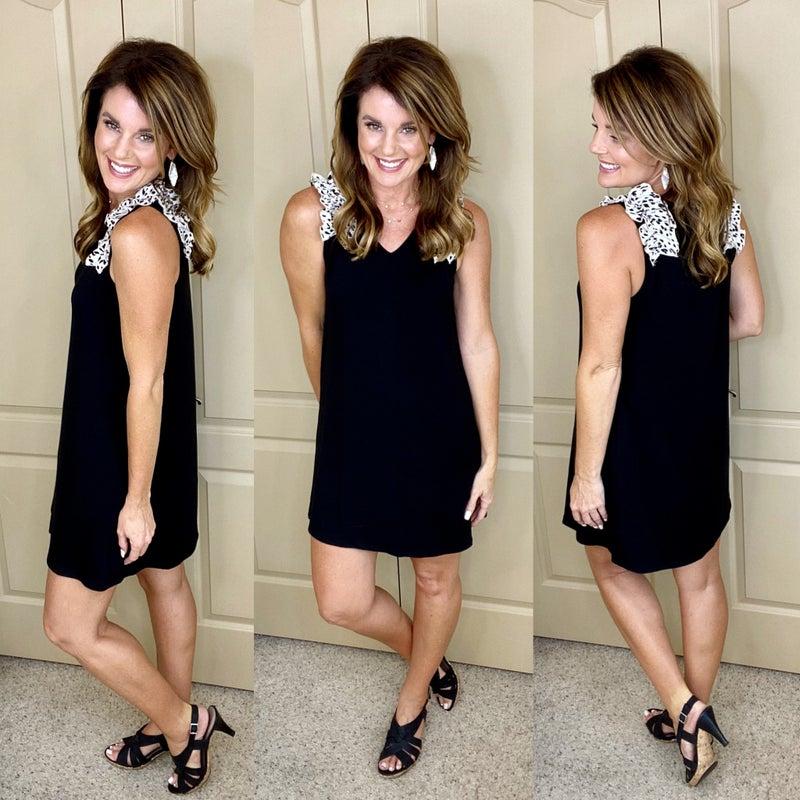 Kaley Leopard Ruffle Solid Black Dress