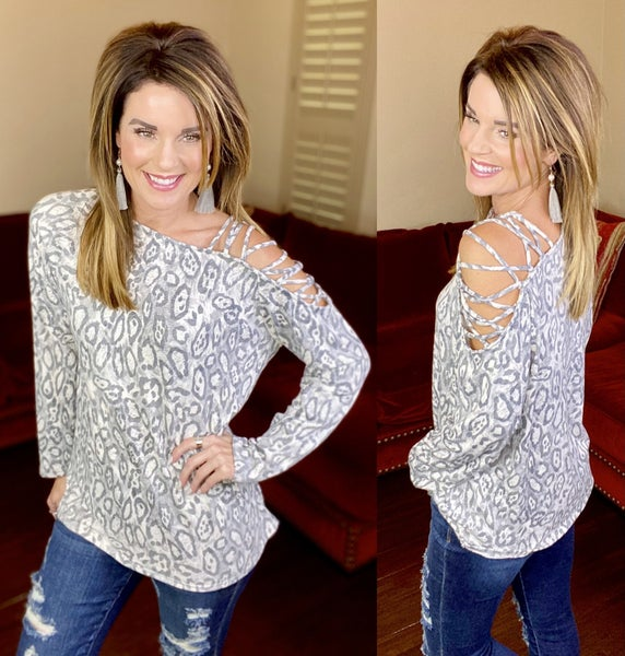 Tenley Leopard Cold Shoulder Top