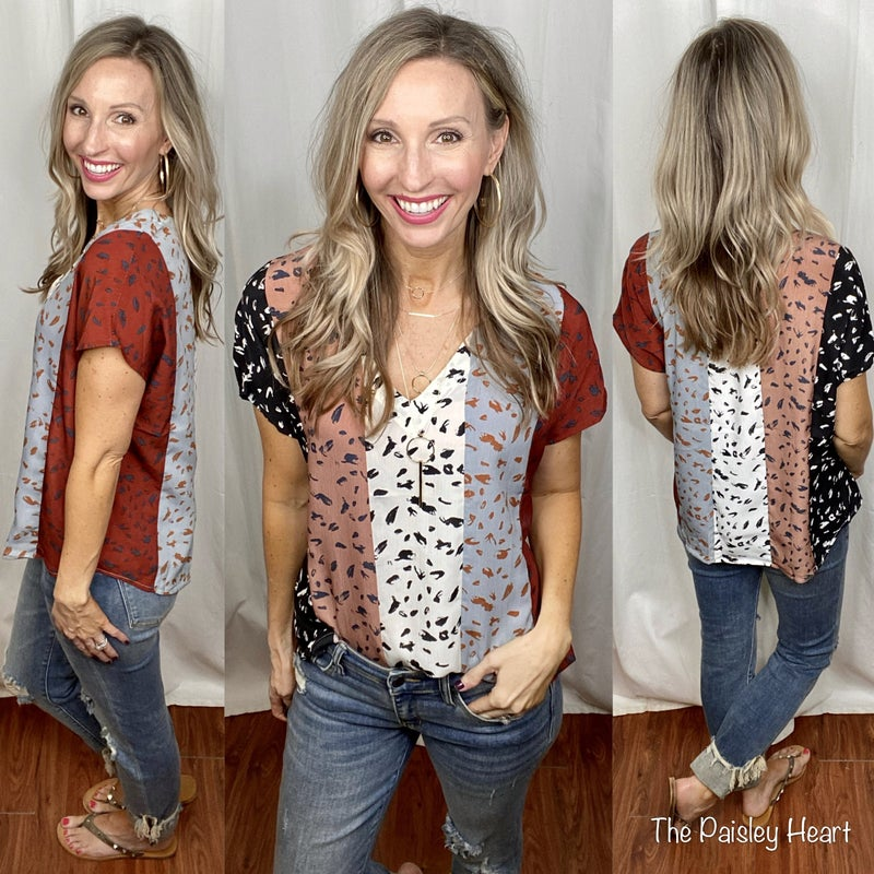 Reid Colorblock Printed Blouse