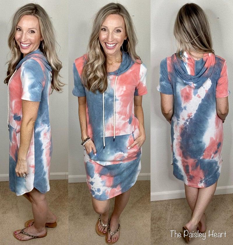 Tie Dye Hooded Shifter Dress