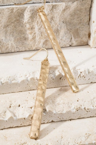 Hammered Metal Long Bar Hook Earrings